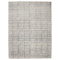 Mid-Century Modern Design Textural Geometric Blue Ivory Jules Carpet