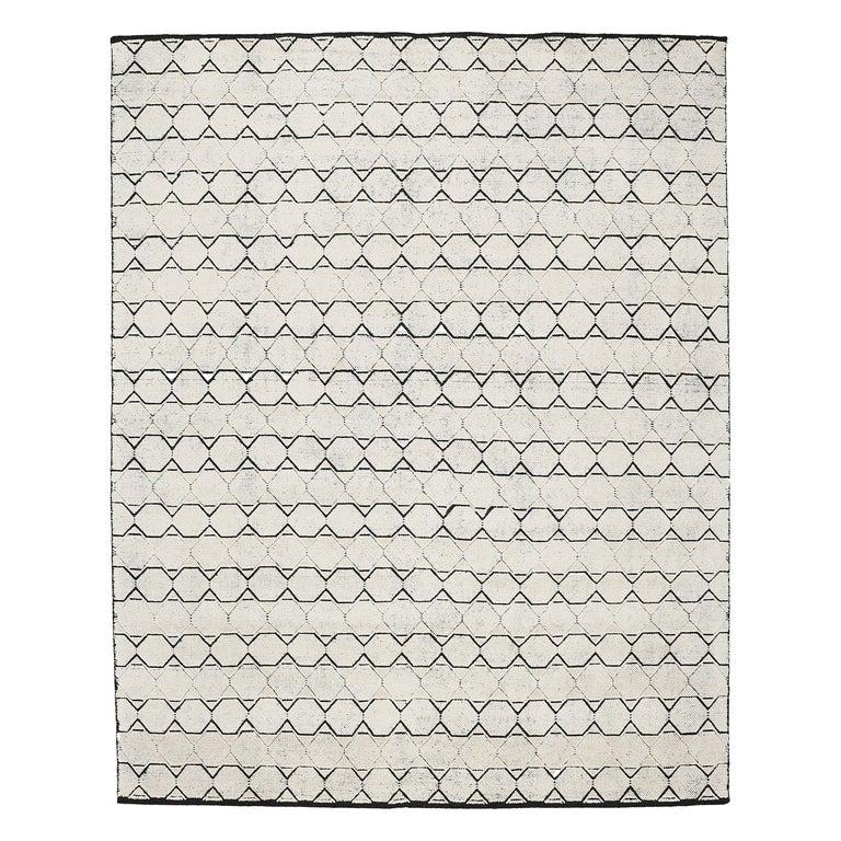 Mid-Century Modern Design Textural Ivory Geometric Octavia Rug For Sale