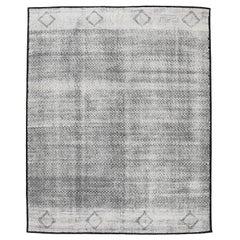 Mid-Century Modern Design Textural Ivory Geometric Shoowa Rug