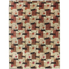Mid-Century Modern Design Turkish Rug in Brown, Red, Taupe and Green