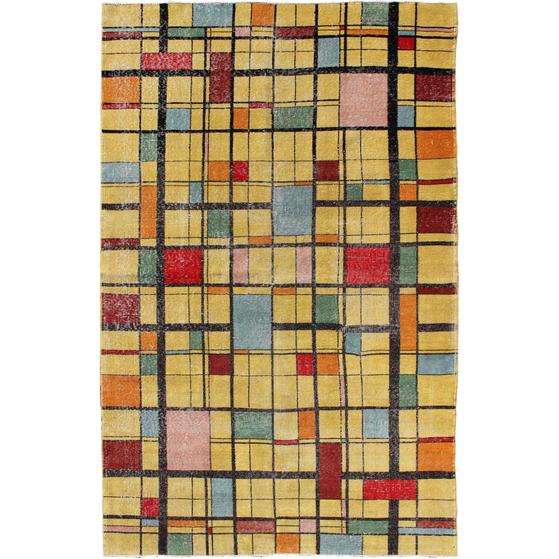 Mid-Century Modern Design Turkish Rug, Vintage Modern Carpet in Bright Yellow