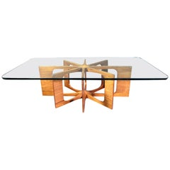 Mid-Century Modern Designer Coffee Table in Walnut and Glass