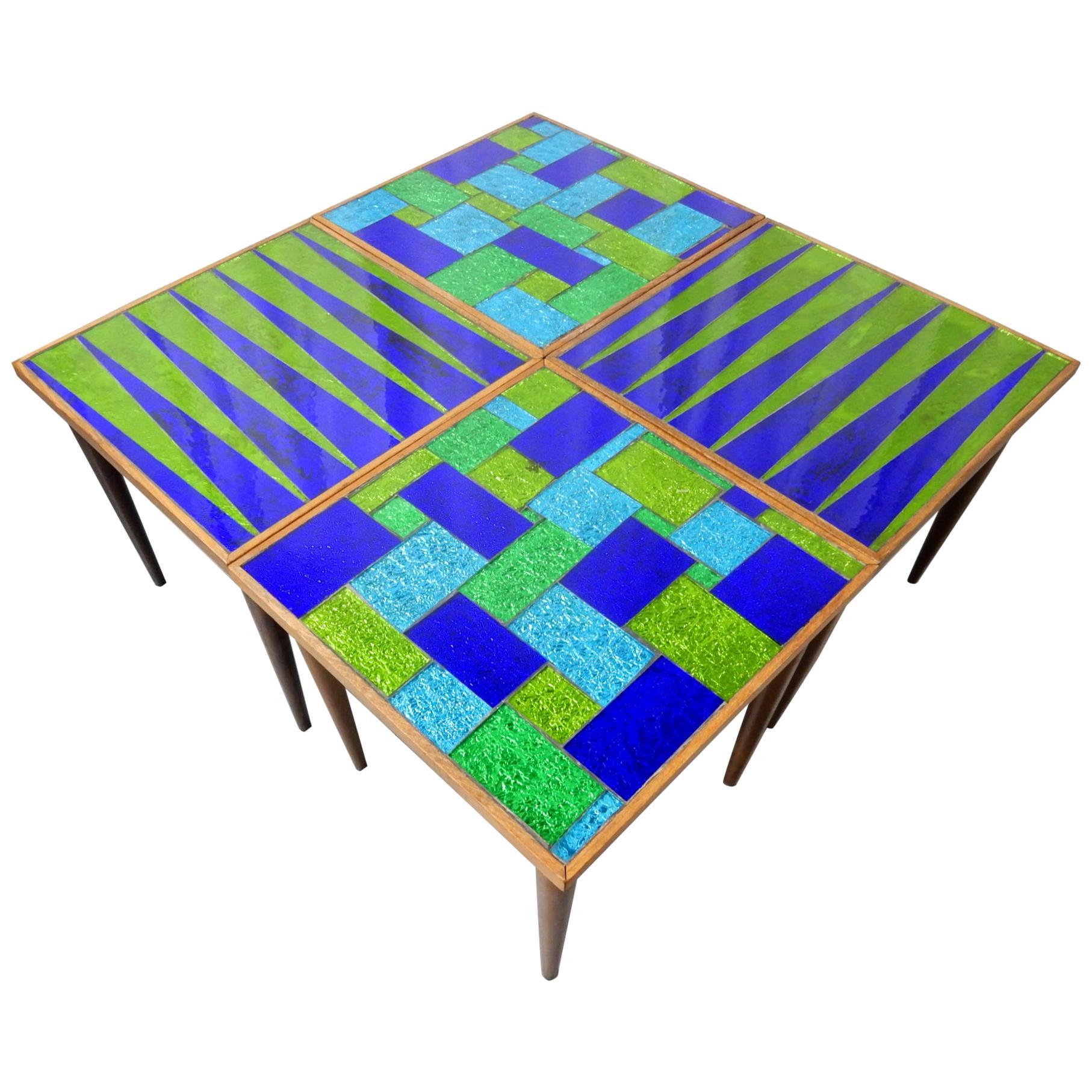 Mid-Century Modern Designer Georges Briard Mosaic Glass Table Set
