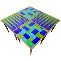 Mid-Century Modern Designer Georges Briard Mosaic Glass Table Set