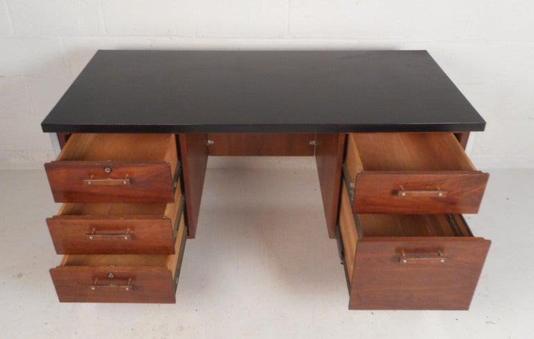 Mid-20th Century Mid-Century Modern Desk by Design Craft with a Finished Back For Sale