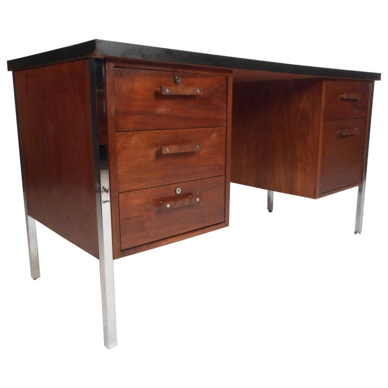 Mid-Century Modern Desk by Design Craft with a Finished Back For Sale