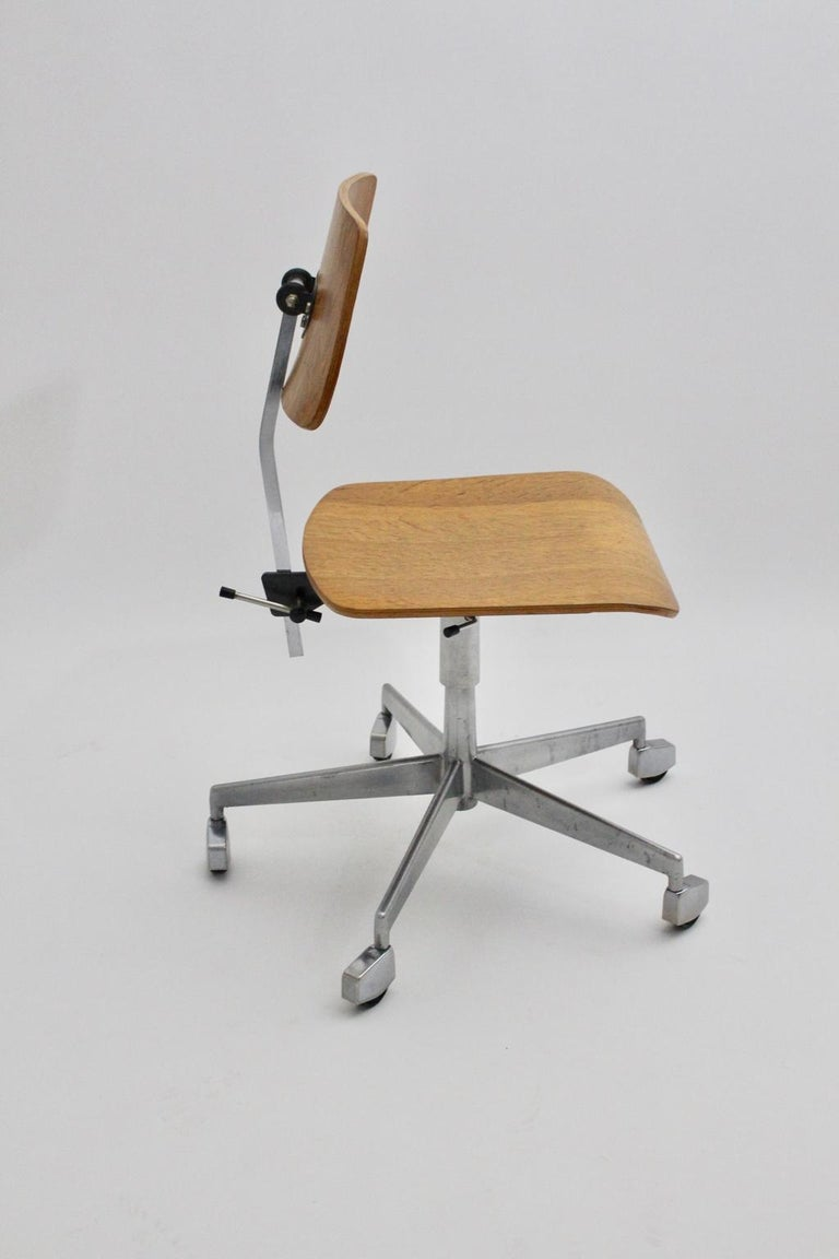 Mid-Century Modern Desk Chair by Jorgen Rasmussen Metal Oak Denmark, circa 1950 For Sale 5