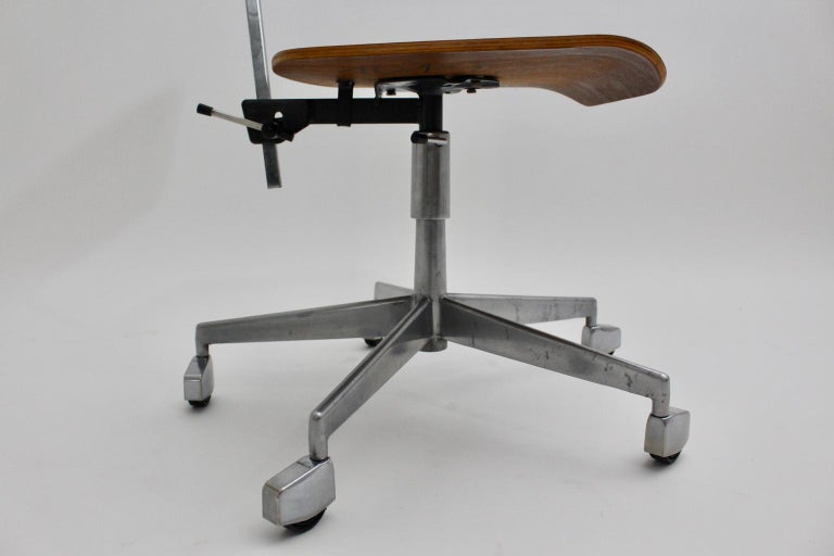 Mid-Century Modern Desk Chair by Jorgen Rasmussen Metal Oak Denmark, circa 1950 For Sale 8