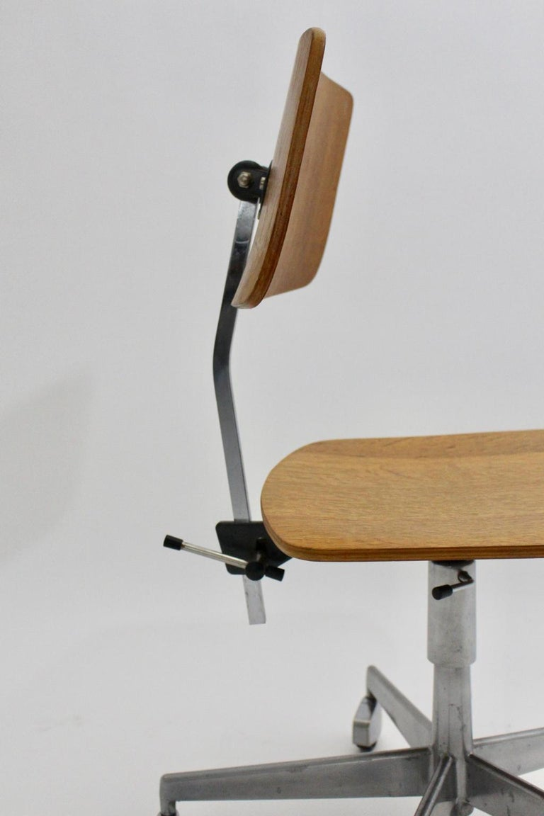 Mid-Century Modern Desk Chair by Jorgen Rasmussen Metal Oak Denmark, circa 1950 For Sale 9