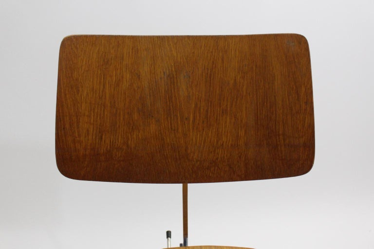 Mid-Century Modern Desk Chair by Jorgen Rasmussen Metal Oak Denmark, circa 1950 For Sale 12