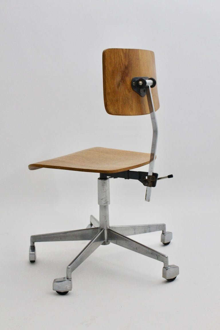 Danish Mid-Century Modern Desk Chair by Jorgen Rasmussen Metal Oak Denmark, circa 1950 For Sale