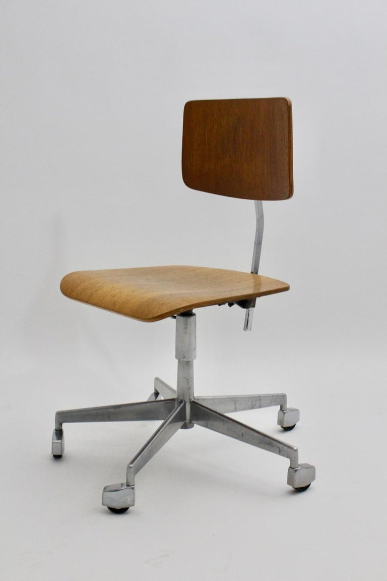 20th Century Mid-Century Modern Desk Chair by Jorgen Rasmussen Metal Oak Denmark, circa 1950 For Sale