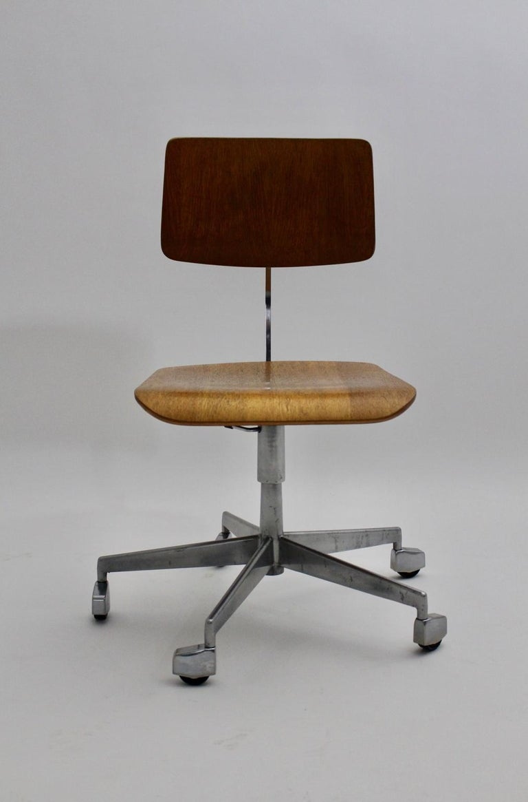 Mid-Century Modern Desk Chair by Jorgen Rasmussen Metal Oak Denmark, circa 1950 For Sale 1