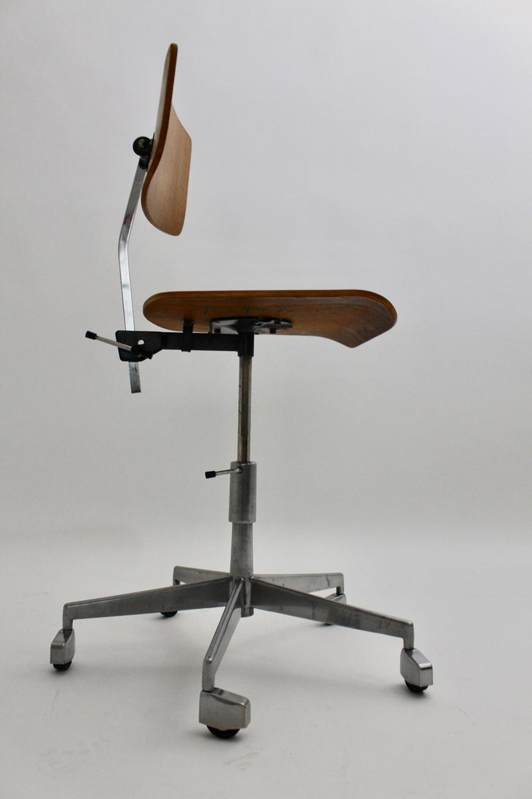 Mid-Century Modern Desk Chair by Jorgen Rasmussen Metal Oak Denmark, circa 1950 For Sale 2