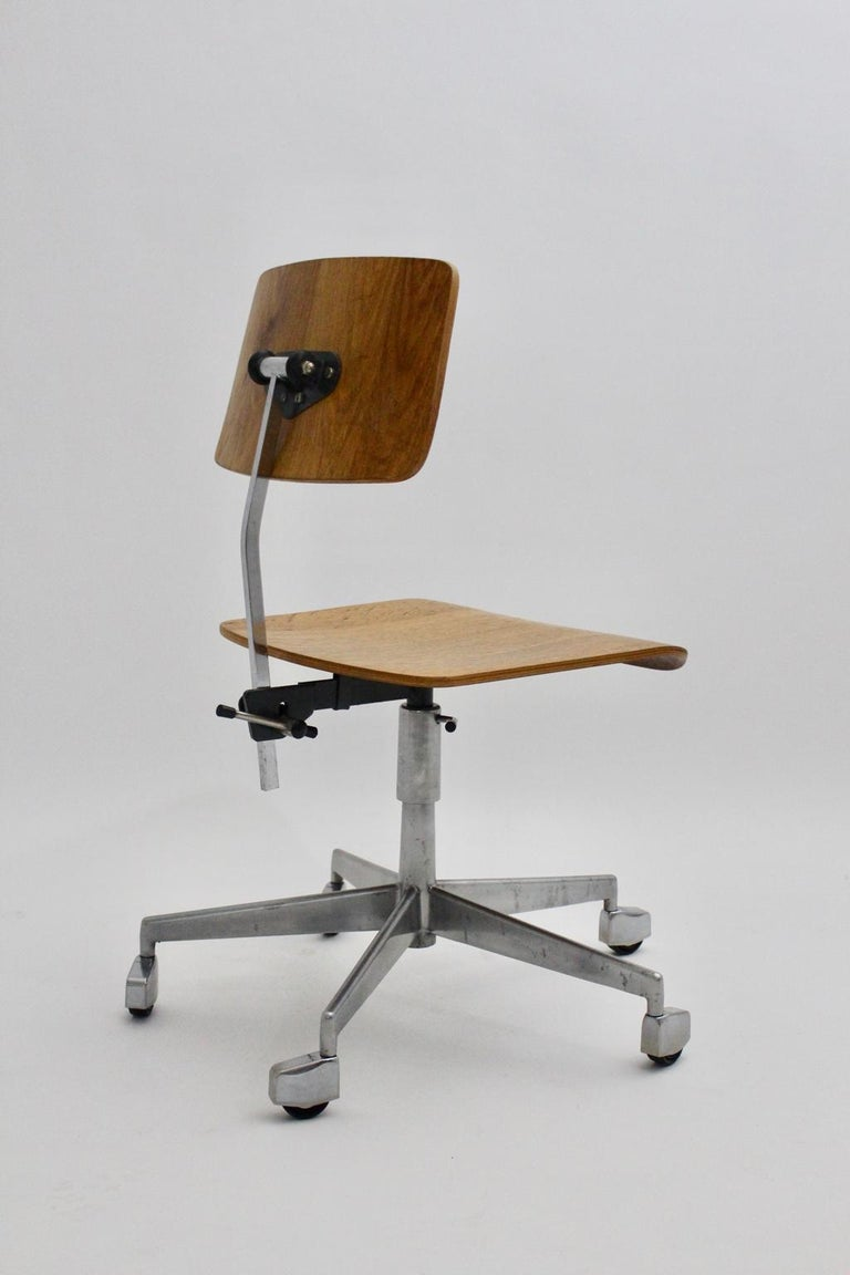 Mid-Century Modern Desk Chair by Jorgen Rasmussen Metal Oak Denmark, circa 1950 For Sale 3