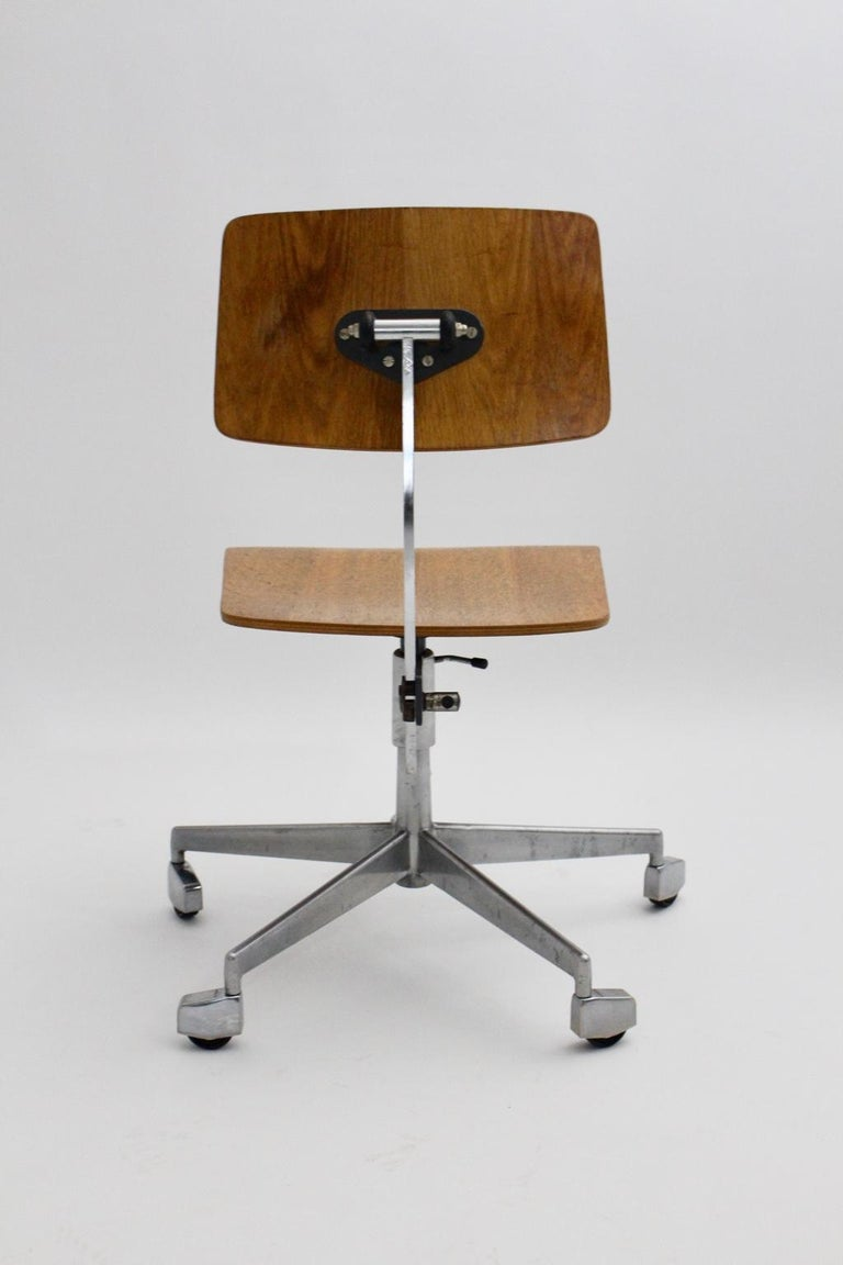 Mid-Century Modern Desk Chair by Jorgen Rasmussen Metal Oak Denmark, circa 1950 For Sale 4
