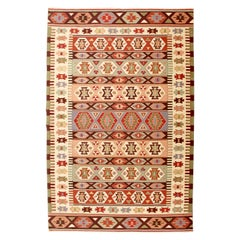 Mid-Century Modern Dhurrie Rectangular Area Rug Carpet Red Green Brown