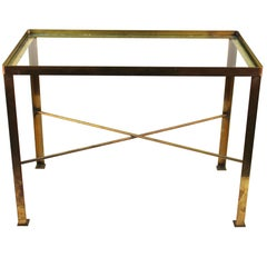 Mid-Century Modern Diminutive Brass Side Table With Glass Top