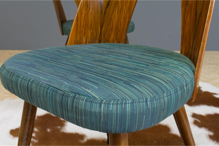 Fabric Mid-Century Modern Dining Chair Bent Plywood Back in by Antonin Šuman For Sale