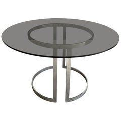 Mid-Century Modern Dining or Center Table with Smoked Glass Top by Milo Baughman