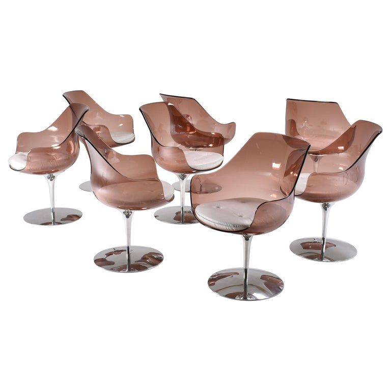 """Mid-Century Modern Dining Room """"Champaign"""" Chairs by E. & E. Laverne, Set of 8 For Sale"""