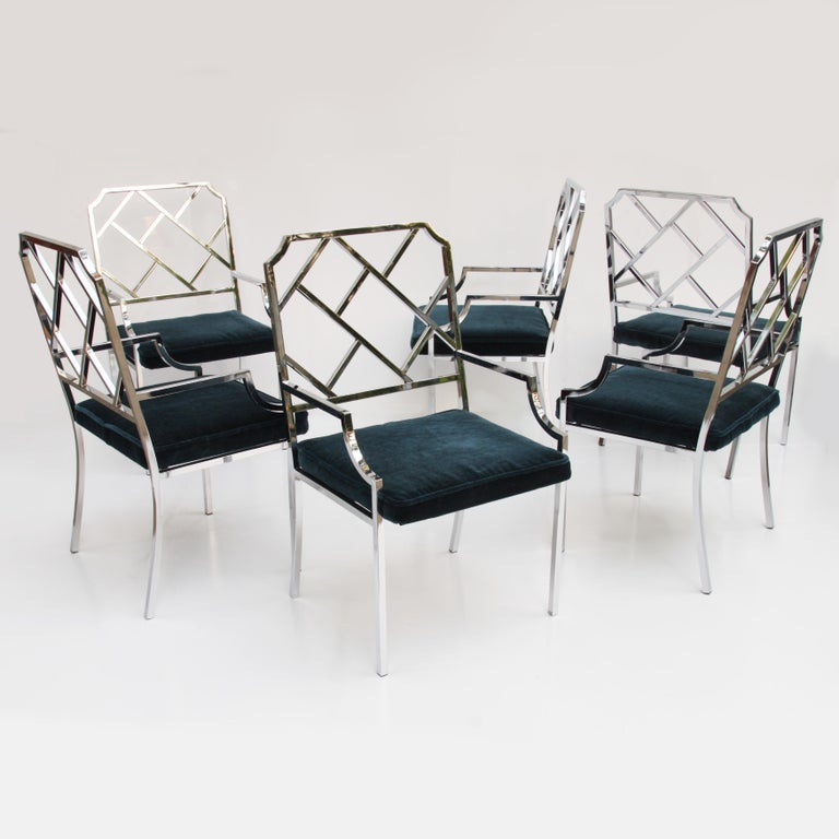 Mid-Century Modern Dining Room Set of 6 Chrome Chinese Chippendale Chairs by DIA In Good Condition For Sale In Lafayette, IN