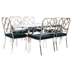 Mid-Century Modern Dining Room Set of 6 Chrome Chinese Chippendale Chairs by DIA