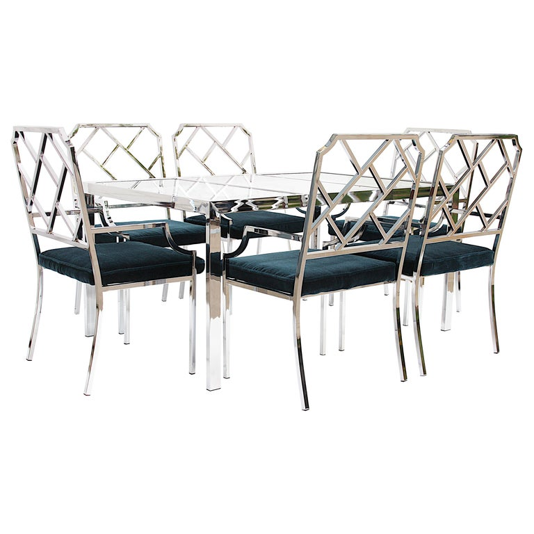 Mid-Century Modern Dining Room Set of 6 Chrome Chinese Chippendale Chairs by DIA For Sale