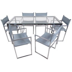 Mid-Century Modern Dining Set in Chrome and Glass