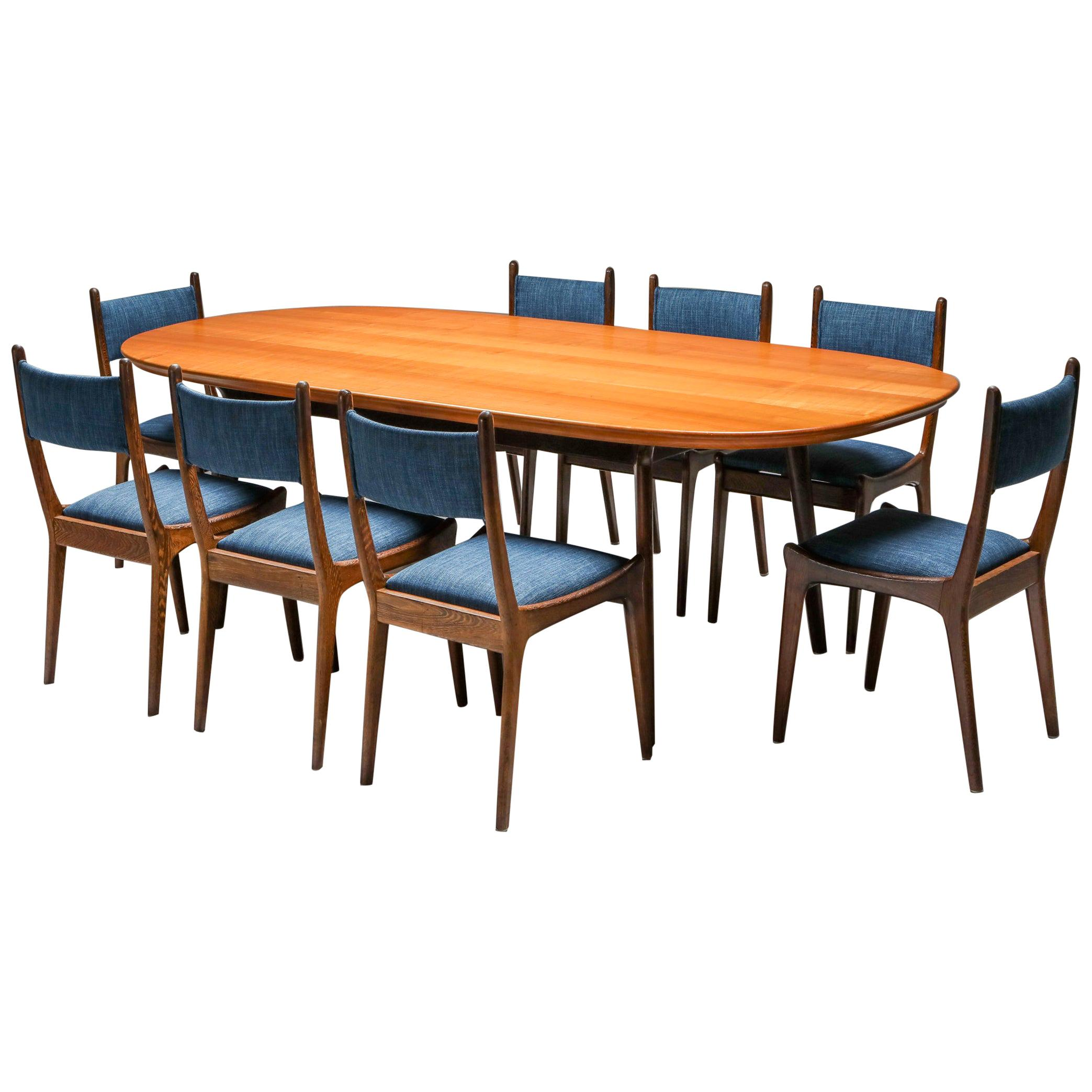 Mid-Century Modern Dining Set in Wengé and Cherry