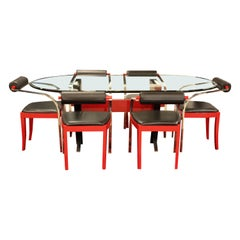 Mid-Century Modern Dining Set Table 6 Chairs Pietro Constantini Ello Italy 1980s