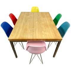 Mid-Century Modern Dining Set with Eames DSR Chairs