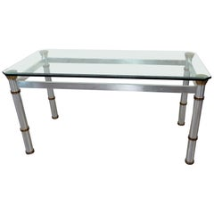Brass and Metal Modern Glass Top Dining Table Attributed to John Vesey