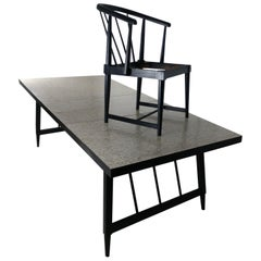 Mid-Century Modern Dining Table with Six Chairs Three Leafs by Mengel