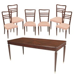 Mid-Century Modern Dinner Table with Six Chairs Paolo Buffa Cantù in Mahogany