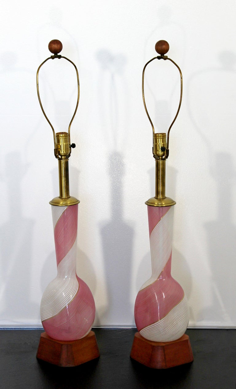 American Mid-Century Modern Dino Martens Murano Marbro Pair Pink Glass Table Lamps, 1970s For Sale