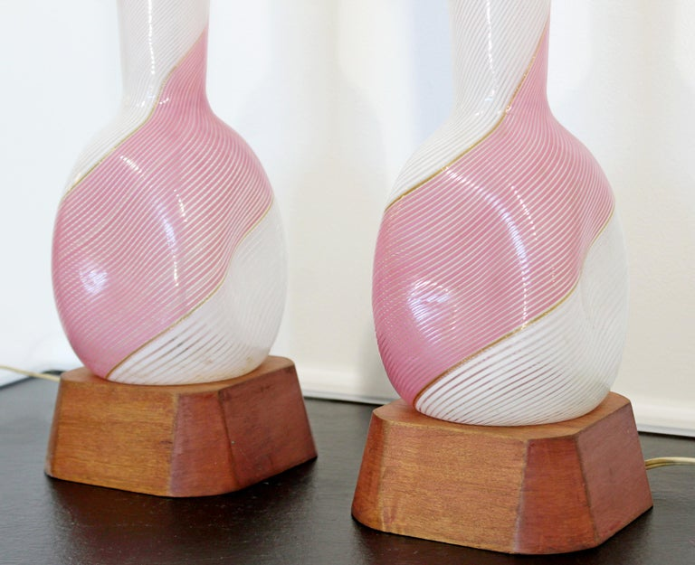 Late 20th Century Mid-Century Modern Dino Martens Murano Marbro Pair Pink Glass Table Lamps, 1970s For Sale