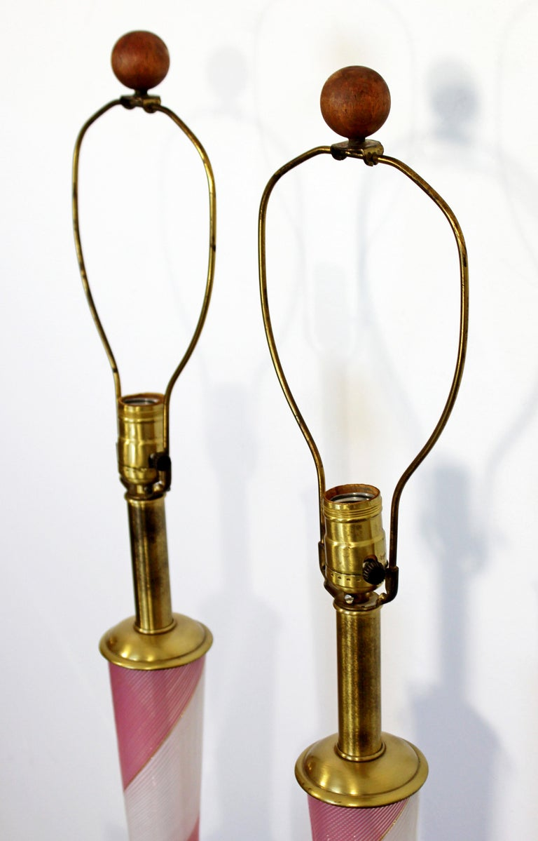 Mid-Century Modern Dino Martens Murano Marbro Pair Pink Glass Table Lamps, 1970s For Sale 1