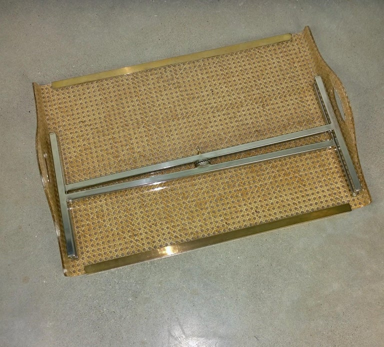 Dior Home Natural Cane Encased in Resin with Brass Accents Butler's Tray / Table For Sale 10