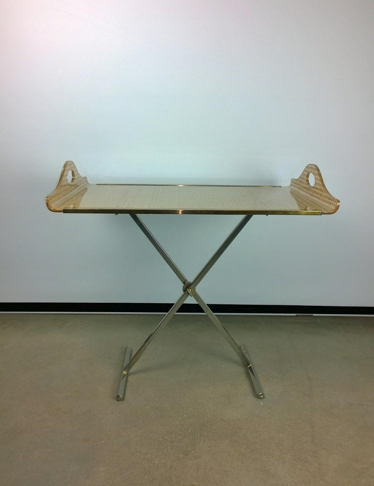 Mid-Century Modern Dior Home Natural Cane Encased in Resin with Brass Accents Butler's Tray / Table For Sale