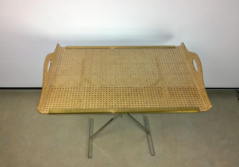 Italian Dior Home Natural Cane Encased in Resin with Brass Accents Butler's Tray / Table For Sale
