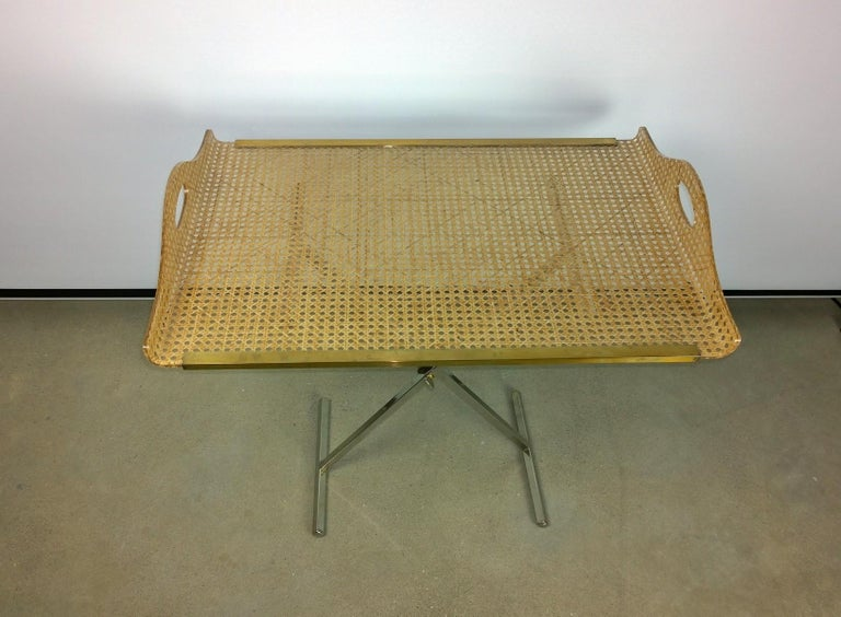 Dior Home Natural Cane Encased in Resin with Brass Accents Butler's Tray / Table In Good Condition For Sale In Houston, TX