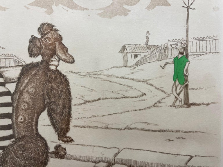 Hand-Crafted Mid-Century Modern Dirty Dogs of Paris Signed and Titled Etching La Java For Sale