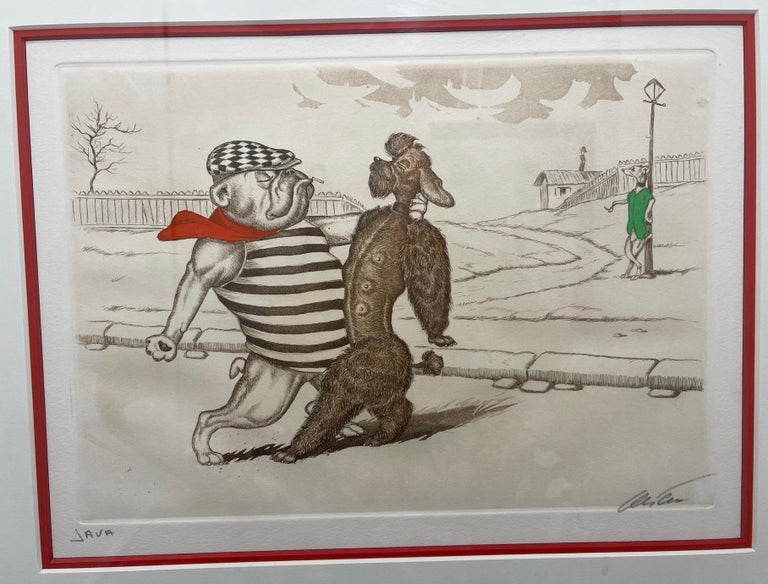 Mid-Century Modern Dirty Dogs of Paris Signed and Titled Etching La Java In Excellent Condition For Sale In Montreal, QC