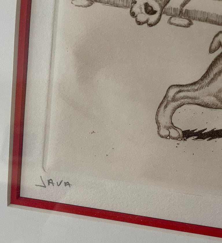 20th Century Mid-Century Modern Dirty Dogs of Paris Signed and Titled Etching La Java For Sale