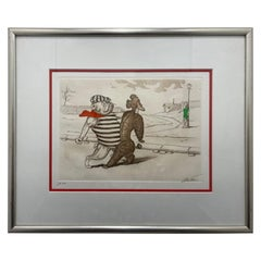 Mid-Century Modern Dirty Dogs of Paris Signed and Titled Etching La Java