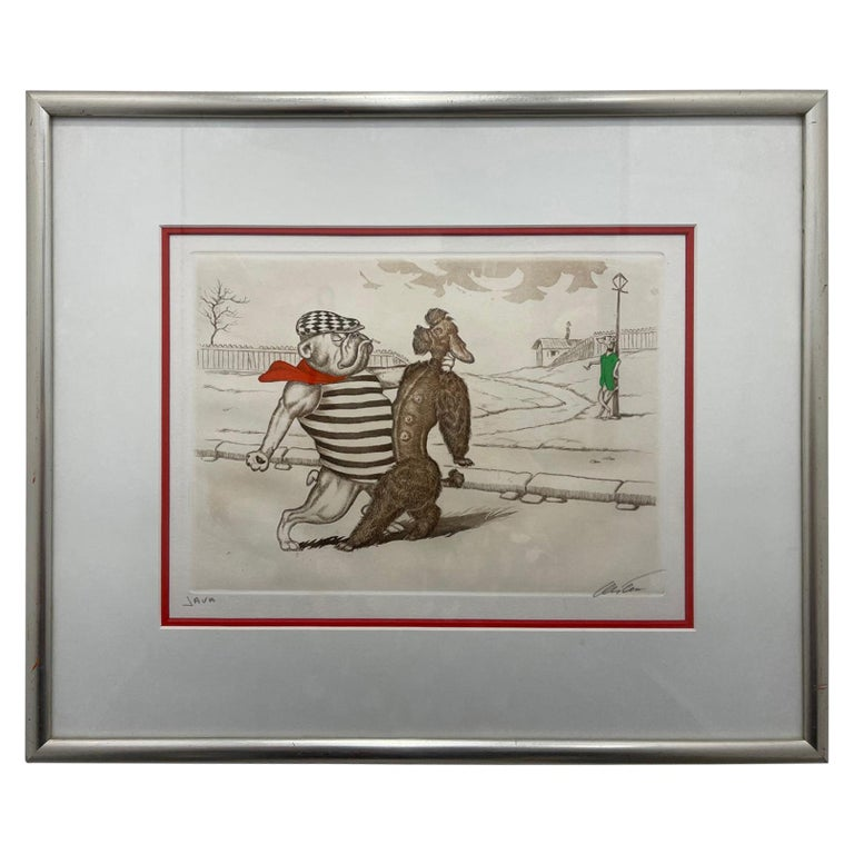 Mid-Century Modern Dirty Dogs of Paris Signed and Titled Etching La Java For Sale