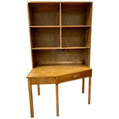 Mid-Century Modern Dixie Campaign Style Desk and Bookcase, 2 Pieces