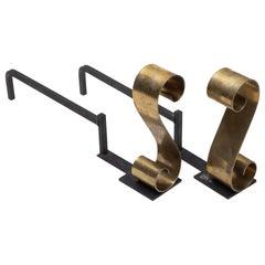 Mid-Century Modern Donald Deskey Brass and Iron Andiron Set