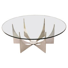 Mid-Century Modern Donald Drumm Glass Brushed Aluminum Round Coffee Table, 1970s